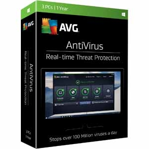 AVG AntiVirus 2017 - 3 PCs / 1 Year Full Retail Box